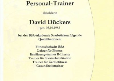 Personal Trainer BSA